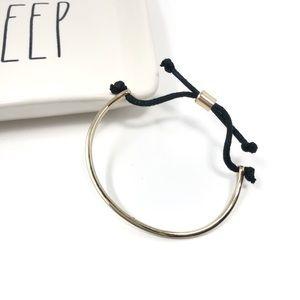Madewell Gold Half Moon Black String Bracelet